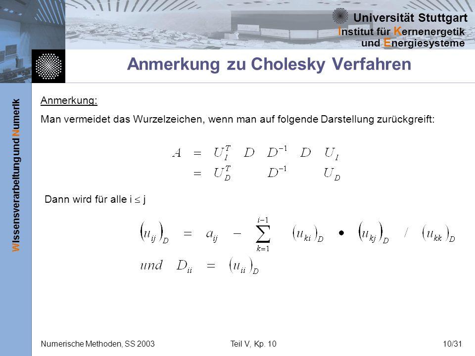 Universität Stuttgart Wissensverarbeitung und Numerik I nstitut für K ernenergetik und E nergiesysteme Numerische Methoden, SS 2003Teil V, Kp. 1010/31