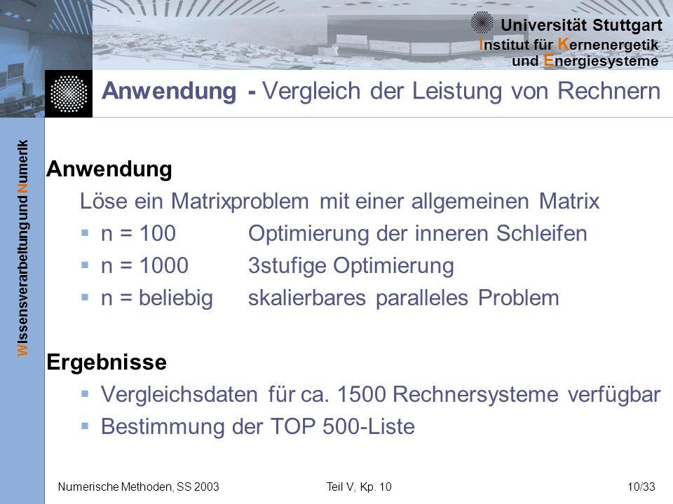 Universität Stuttgart Wissensverarbeitung und Numerik I nstitut für K ernenergetik und E nergiesysteme Numerische Methoden, SS 2003Teil V, Kp. 1010/33