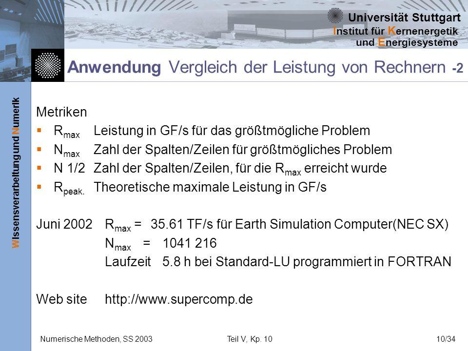 Universität Stuttgart Wissensverarbeitung und Numerik I nstitut für K ernenergetik und E nergiesysteme Numerische Methoden, SS 2003Teil V, Kp. 1010/34