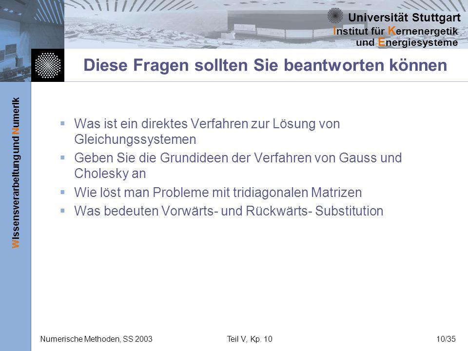Universität Stuttgart Wissensverarbeitung und Numerik I nstitut für K ernenergetik und E nergiesysteme Numerische Methoden, SS 2003Teil V, Kp. 1010/35