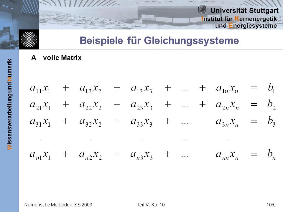 Universität Stuttgart Wissensverarbeitung und Numerik I nstitut für K ernenergetik und E nergiesysteme Numerische Methoden, SS 2003Teil V, Kp. 1010/5