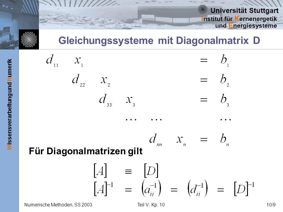 Universität Stuttgart Wissensverarbeitung und Numerik I nstitut für K ernenergetik und E nergiesysteme Numerische Methoden, SS 2003Teil V, Kp. 1010/9