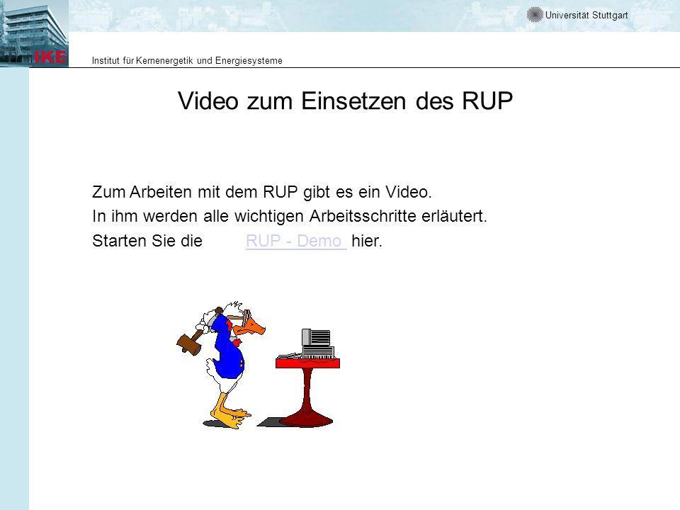 Universität Stuttgart Institut für Kernenergetik und Energiesysteme Danksagung Das Lehrmaterial ist als Einführung in der RUP konzipiert.