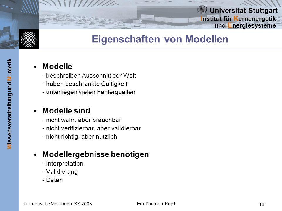 Universität Stuttgart Wissensverarbeitung und Numerik I nstitut für K ernenergetik und E nergiesysteme Numerische Methoden, SS 2003Einführung + Kap1 1