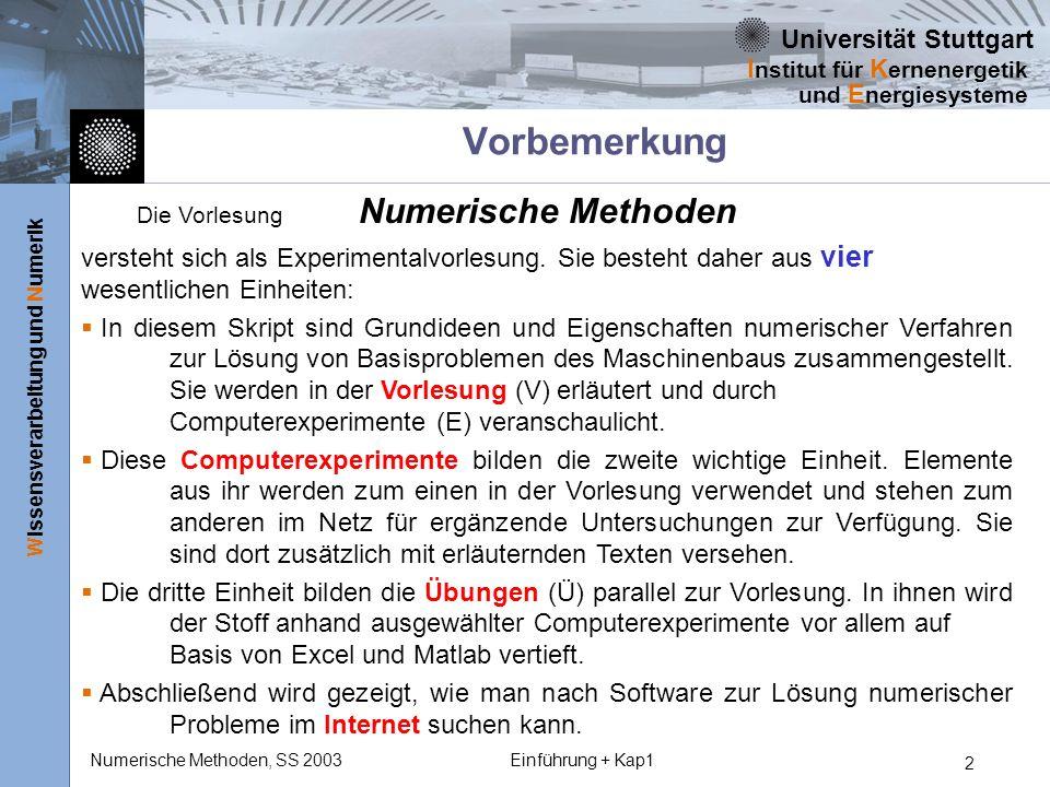 Universität Stuttgart Wissensverarbeitung und Numerik I nstitut für K ernenergetik und E nergiesysteme Numerische Methoden, SS 2003Einführung + Kap1 23 VDI-Definitionen zur Modellierung durch Simulation -2 Den Prozeß der Modellierung Die Modellierung umfaßt bei der Simulation das Umsetzen eines existierenden oder gedachten Systems in ein experimentierbares Modell, und der Begriff der Simulation: Simulation ist ein Verfahren zur Nachbildung eines Systems mit seinen dynamischen Prozessen in einem experimentierbaren Modell, um zu Erkenntnissen zu gelangen, die auf die Wirklichkeit übertragbar sind.