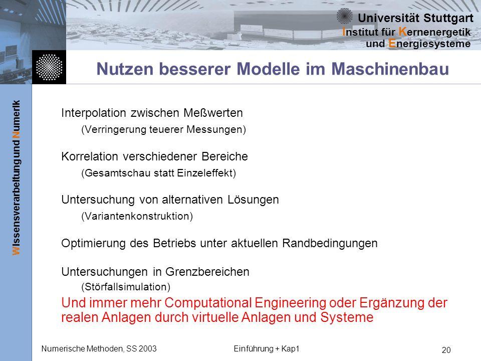 Universität Stuttgart Wissensverarbeitung und Numerik I nstitut für K ernenergetik und E nergiesysteme Numerische Methoden, SS 2003Einführung + Kap1 2