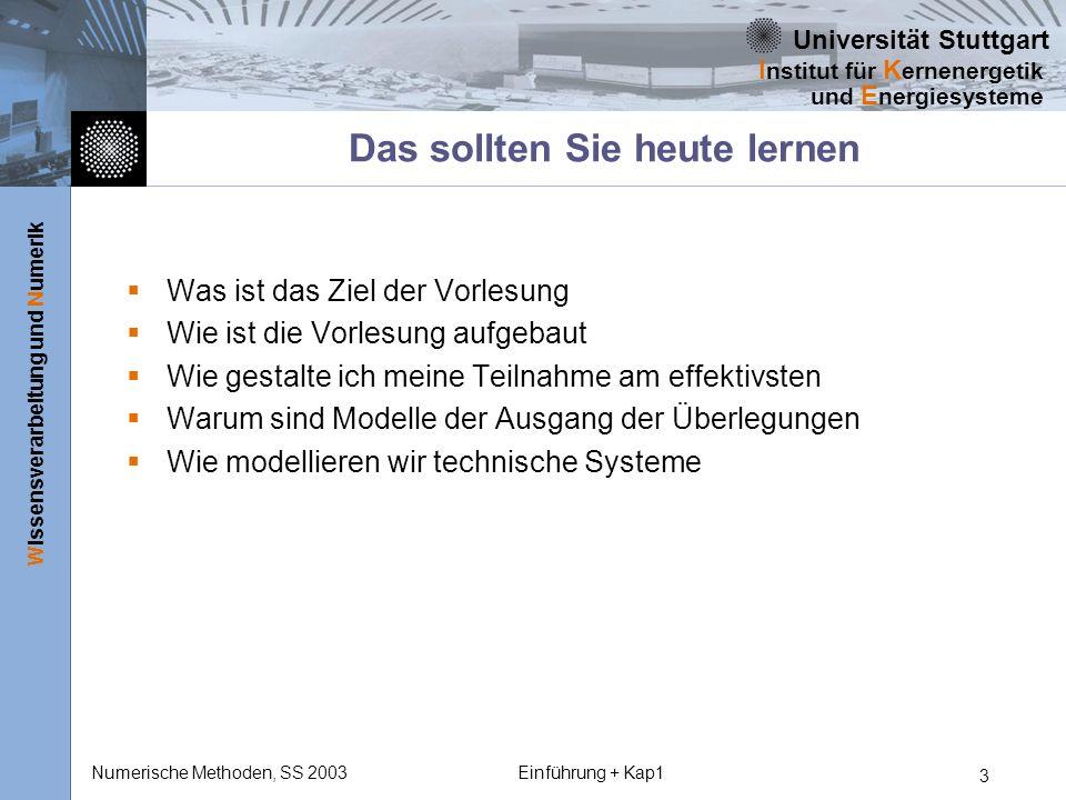 Universität Stuttgart Wissensverarbeitung und Numerik I nstitut für K ernenergetik und E nergiesysteme Numerische Methoden, SS 2003Einführung + Kap1 24 Diese Fragen sollten Sie beantworten können Was ist das Ziel der Vorlesung Was ist ein Modell Wie sind Technische Modelle strukturiert Was sind die mathematischen Grundbeziehungen technischer Modelle