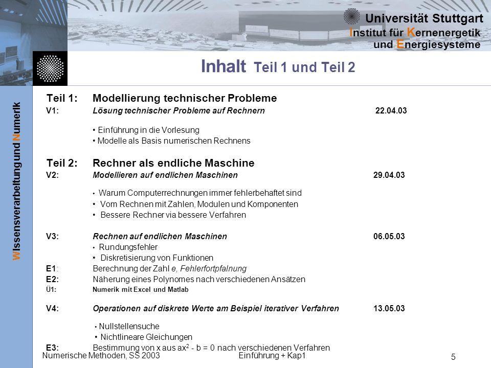 Universität Stuttgart Wissensverarbeitung und Numerik I nstitut für K ernenergetik und E nergiesysteme Numerische Methoden, SS 2003Einführung + Kap1 6 Teil 3: Grundoperationen auf diskretisierte Funktionen V5:Integration 27.05.03 Verfahren nach Newton und Gauss Ü2:Integration V6:Differenzieren von Funktionen 03.06.03 Differenzenverfahren Vorwärts-Rückwärts- und zentrale Differenzen Ü3:Differenzieren Teil 4: Differentialgleichungen V7:Gewöhnliche Differentialgleichungen 10.06.03 Das Anfangswertproblem Euler-Verfahren, Runge-Kutta-Verfahren E4: Stationäre Wärmeleitung in einer Dimension, Bewegungsgleichung für freien Fall Ü4:Differentialgleichungen V8:Partielle Dglen oder alternativ Gew.