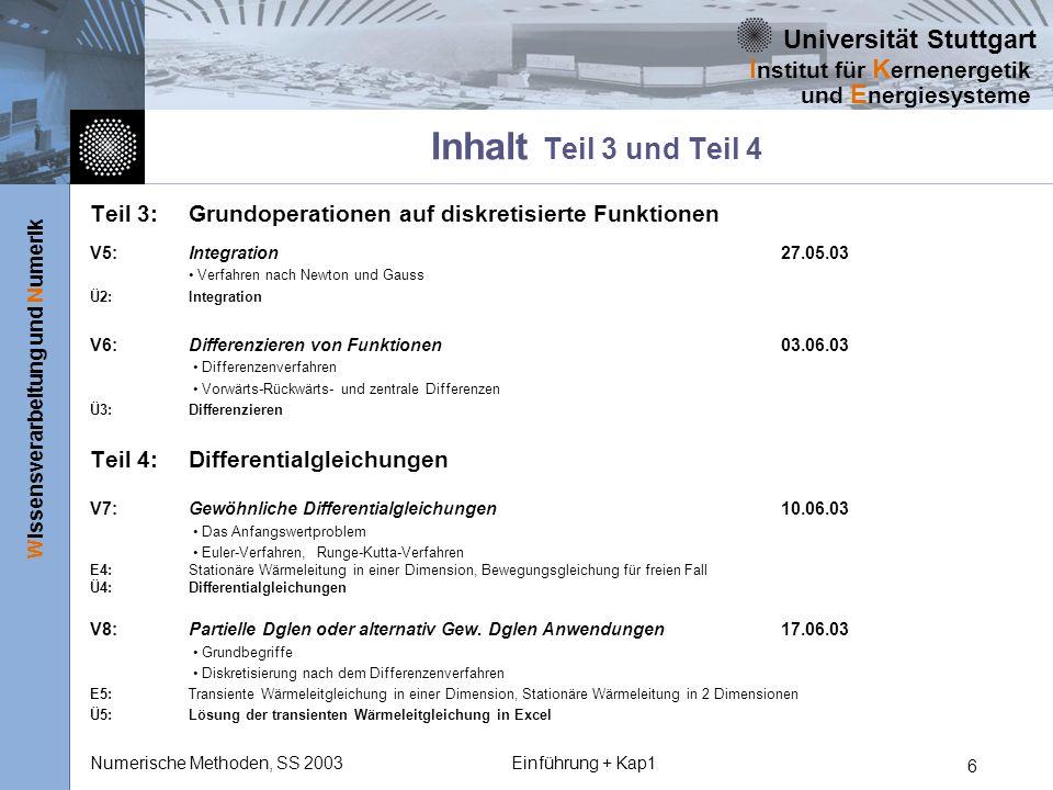 Universität Stuttgart Wissensverarbeitung und Numerik I nstitut für K ernenergetik und E nergiesysteme Numerische Methoden, SS 2003Einführung + Kap1 6
