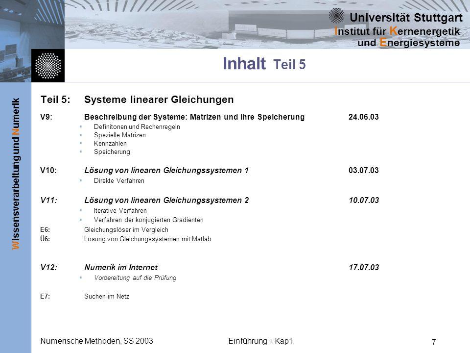 Universität Stuttgart Wissensverarbeitung und Numerik I nstitut für K ernenergetik und E nergiesysteme Numerische Methoden, SS 2003Einführung + Kap1 8 Literatur / 1/Böhm, Gose, Kahman: Methoden der Numerischen Mathematik.