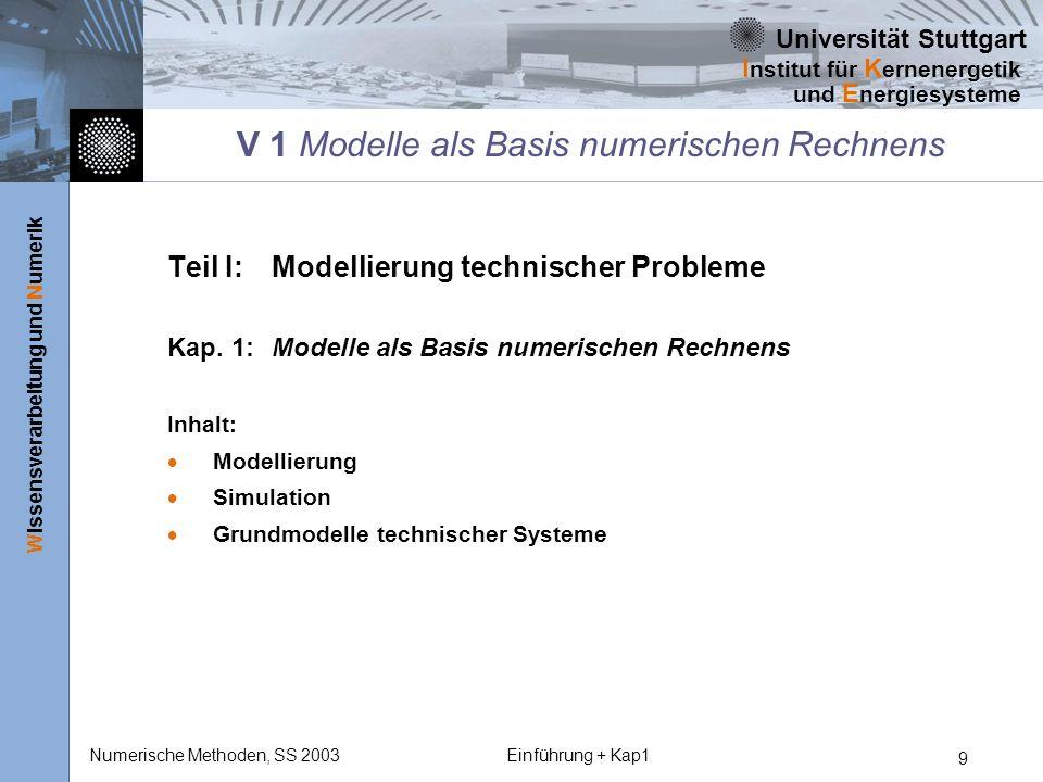 Universität Stuttgart Wissensverarbeitung und Numerik I nstitut für K ernenergetik und E nergiesysteme Numerische Methoden, SS 2003Einführung + Kap1 9