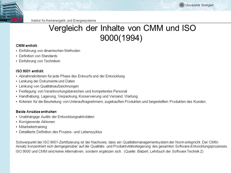 Universität Stuttgart Institut für Kernenergetik und Energiesysteme Vergleich der Inhalte von CMM und ISO 9000(1994) CMM enthält Einführung von dinami