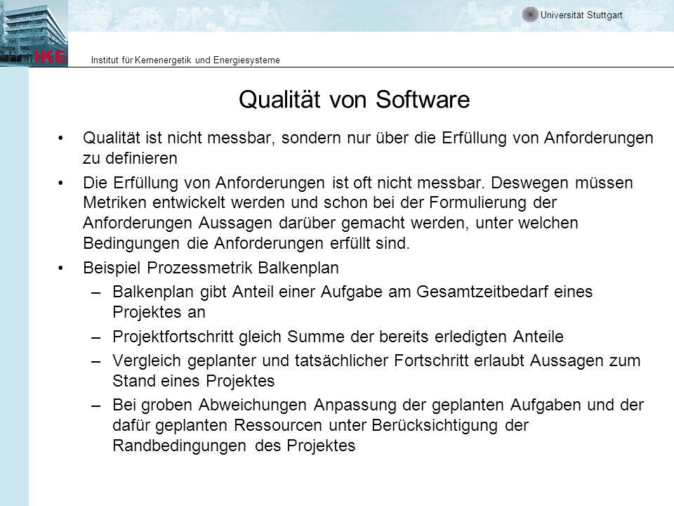 Universität Stuttgart Institut für Kernenergetik und Energiesysteme Qualität von Software Qualität ist nicht messbar, sondern nur über die Erfüllung v
