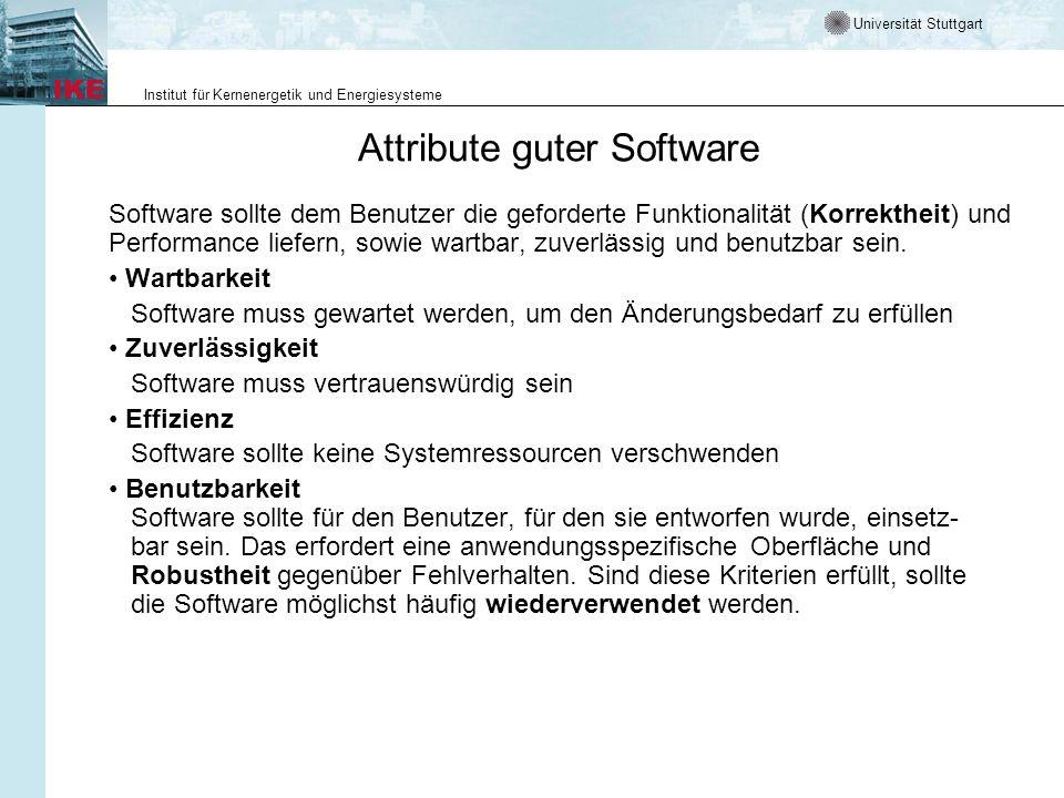 Universität Stuttgart Institut für Kernenergetik und Energiesysteme Attribute guter Software Software sollte dem Benutzer die geforderte Funktionalitä