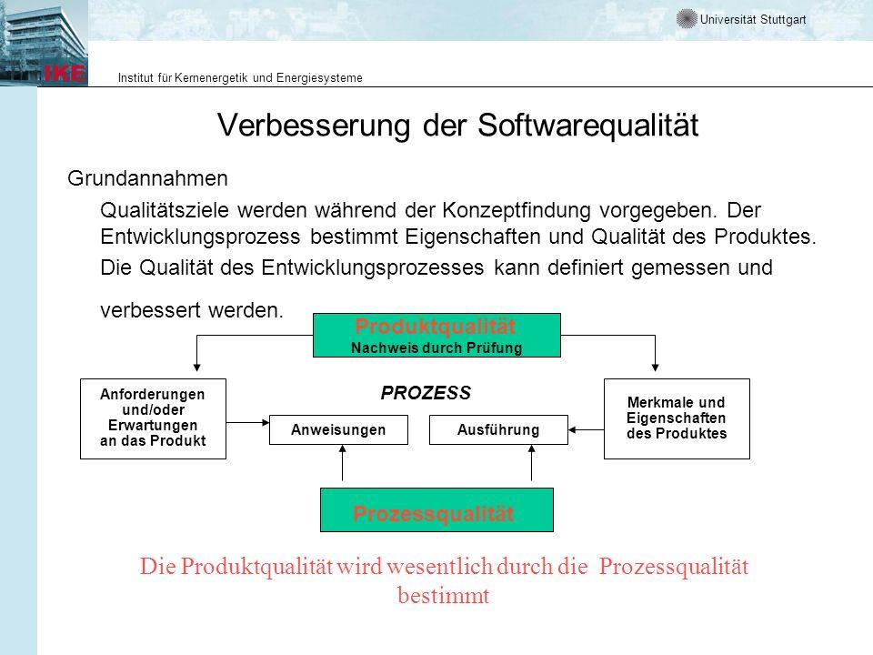 Universität Stuttgart Institut für Kernenergetik und Energiesysteme Verbesserung der Softwarequalität Grundannahmen Qualitätsziele werden während der