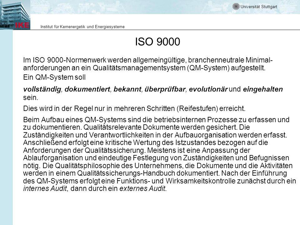 Universität Stuttgart Institut für Kernenergetik und Energiesysteme ISO 9000 Im ISO 9000-Normenwerk werden allgemeingültige, branchenneutrale Minimal-
