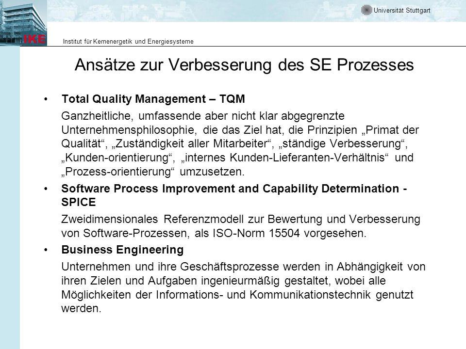 Universität Stuttgart Institut für Kernenergetik und Energiesysteme Ansätze zur Verbesserung des SE Prozesses Total Quality Management – TQM Ganzheitl