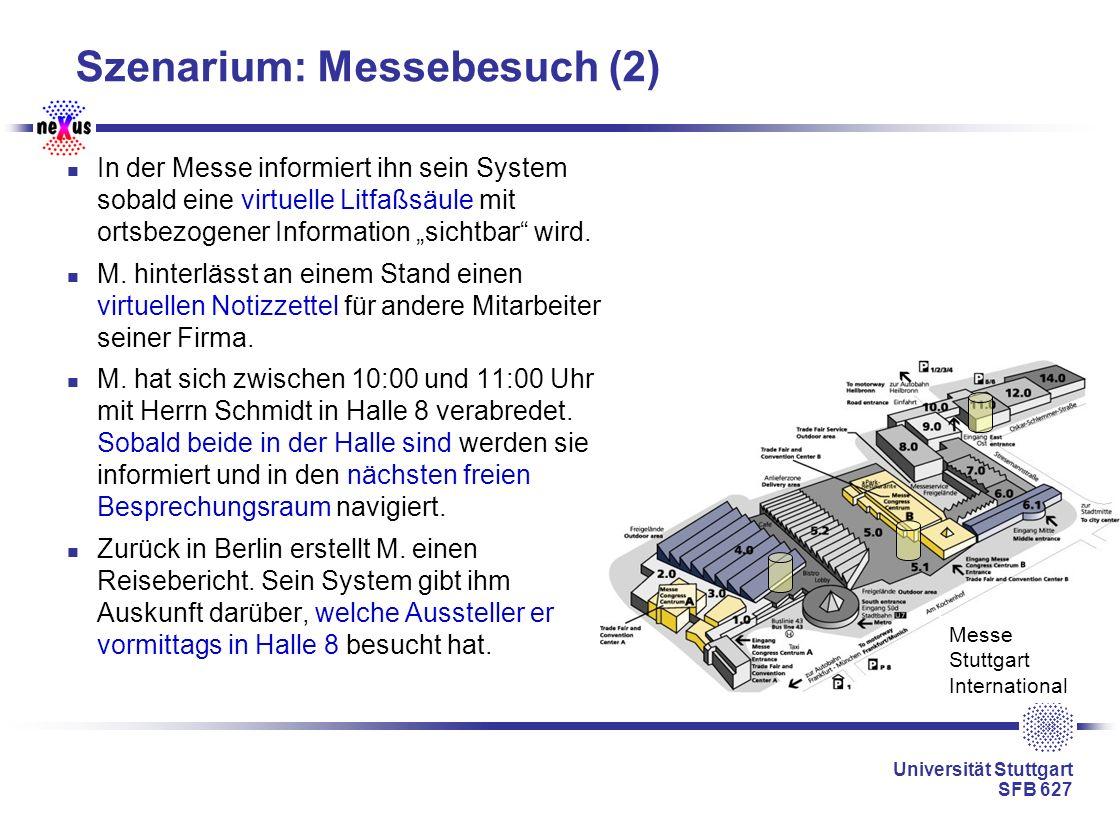 Universität Stuttgart SFB 627 Messe Stuttgart International Szenarium: Messebesuch (2) In der Messe informiert ihn sein System sobald eine virtuelle L