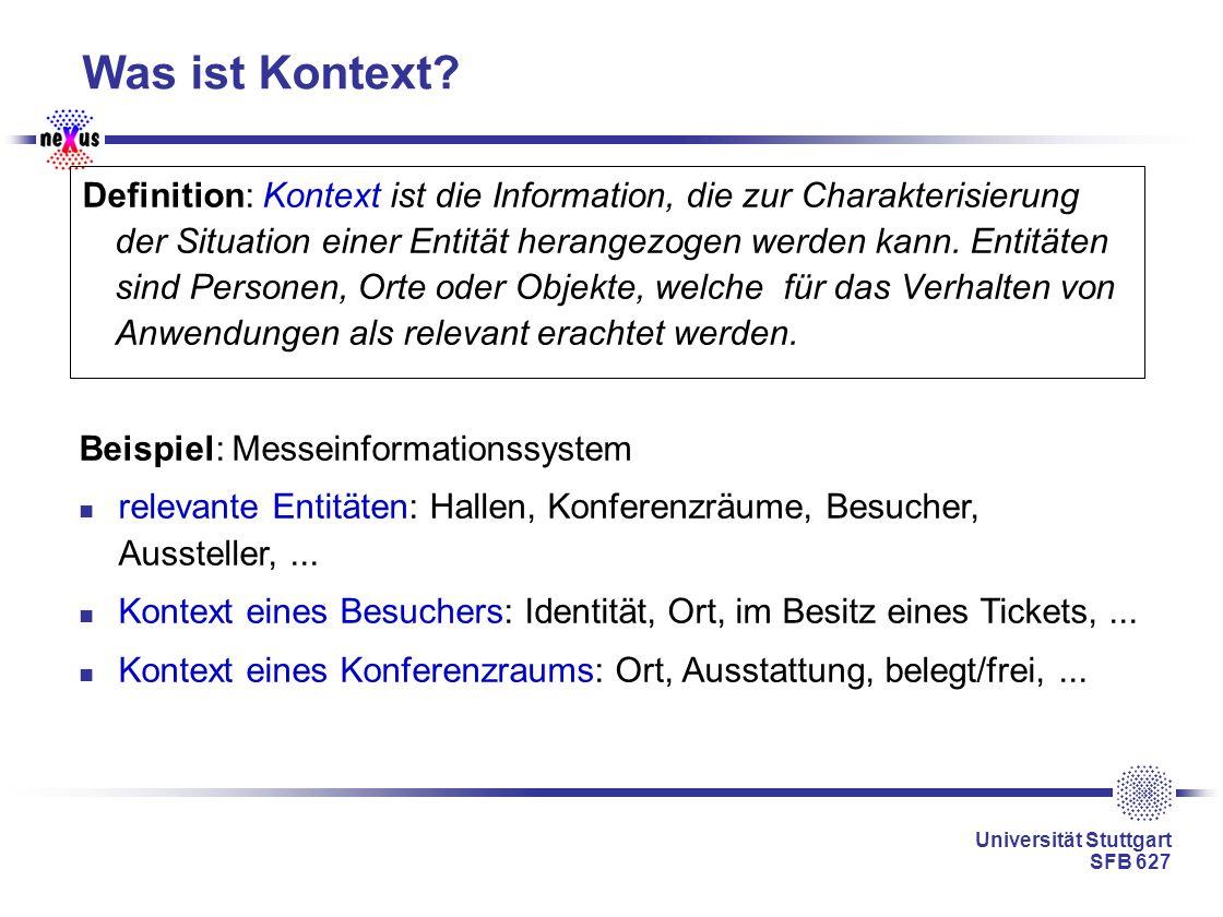 Universität Stuttgart SFB 627 Was ist Kontext? Definition: Kontext ist die Information, die zur Charakterisierung der Situation einer Entität herangez