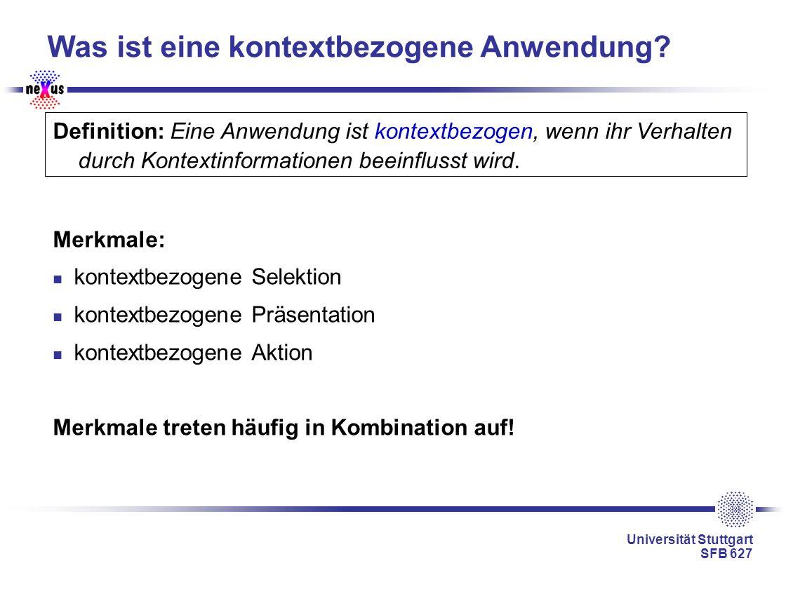 Universität Stuttgart SFB 627 Was ist eine kontextbezogene Anwendung? Merkmale: kontextbezogene Selektion kontextbezogene Präsentation kontextbezogene