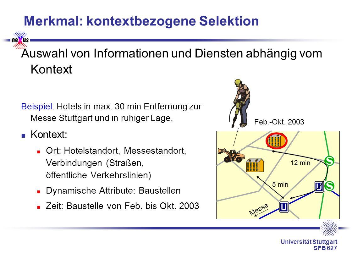 Universität Stuttgart SFB 627 Merkmal: kontextbezogene Selektion Auswahl von Informationen und Diensten abhängig vom Kontext Beispiel: Hotels in max.