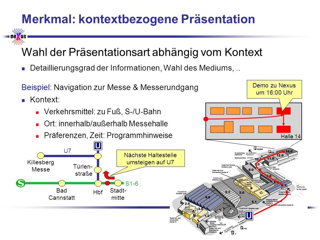 Universität Stuttgart SFB 627 Merkmal: kontextbezogene Präsentation Wahl der Präsentationsart abhängig vom Kontext Detaillierungsgrad der Informatione