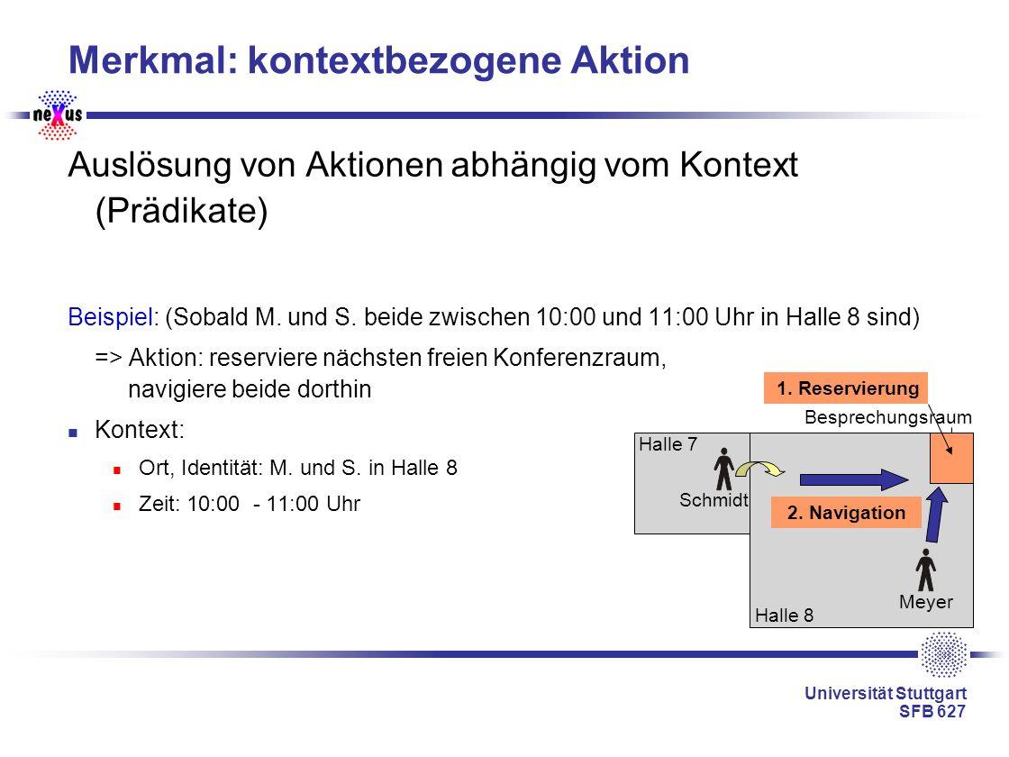 Universität Stuttgart SFB 627 Merkmal: kontextbezogene Aktion Auslösung von Aktionen abhängig vom Kontext (Prädikate) Beispiel: (Sobald M. und S. beid
