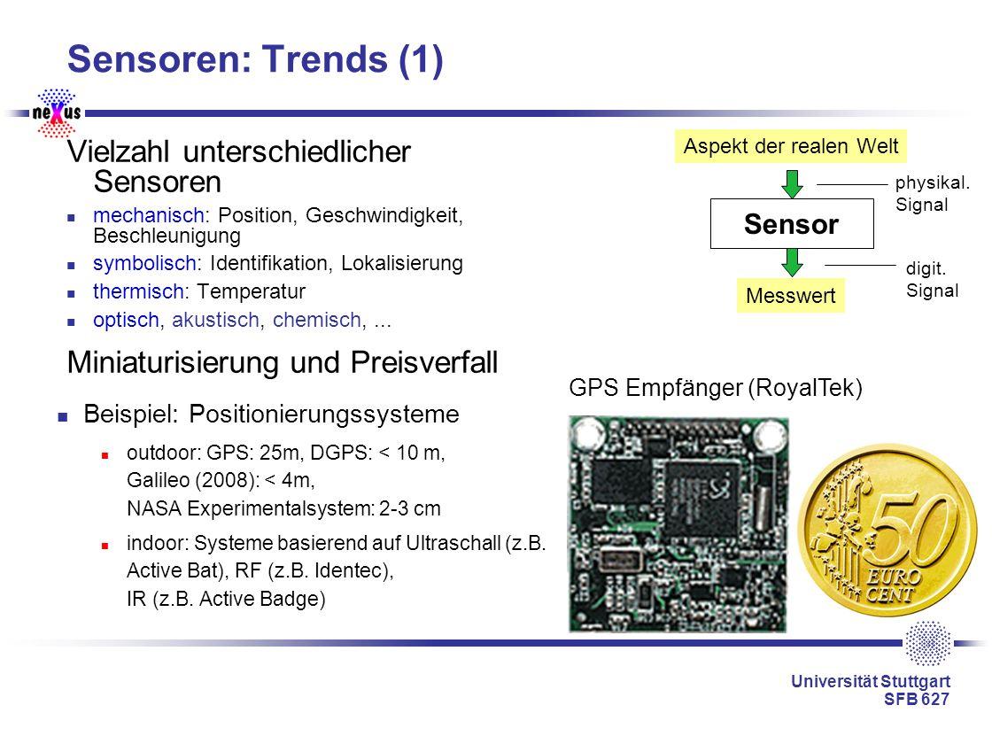 Universität Stuttgart SFB 627 Sensoren: Trends (1) Vielzahl unterschiedlicher Sensoren mechanisch: Position, Geschwindigkeit, Beschleunigung symbolisc