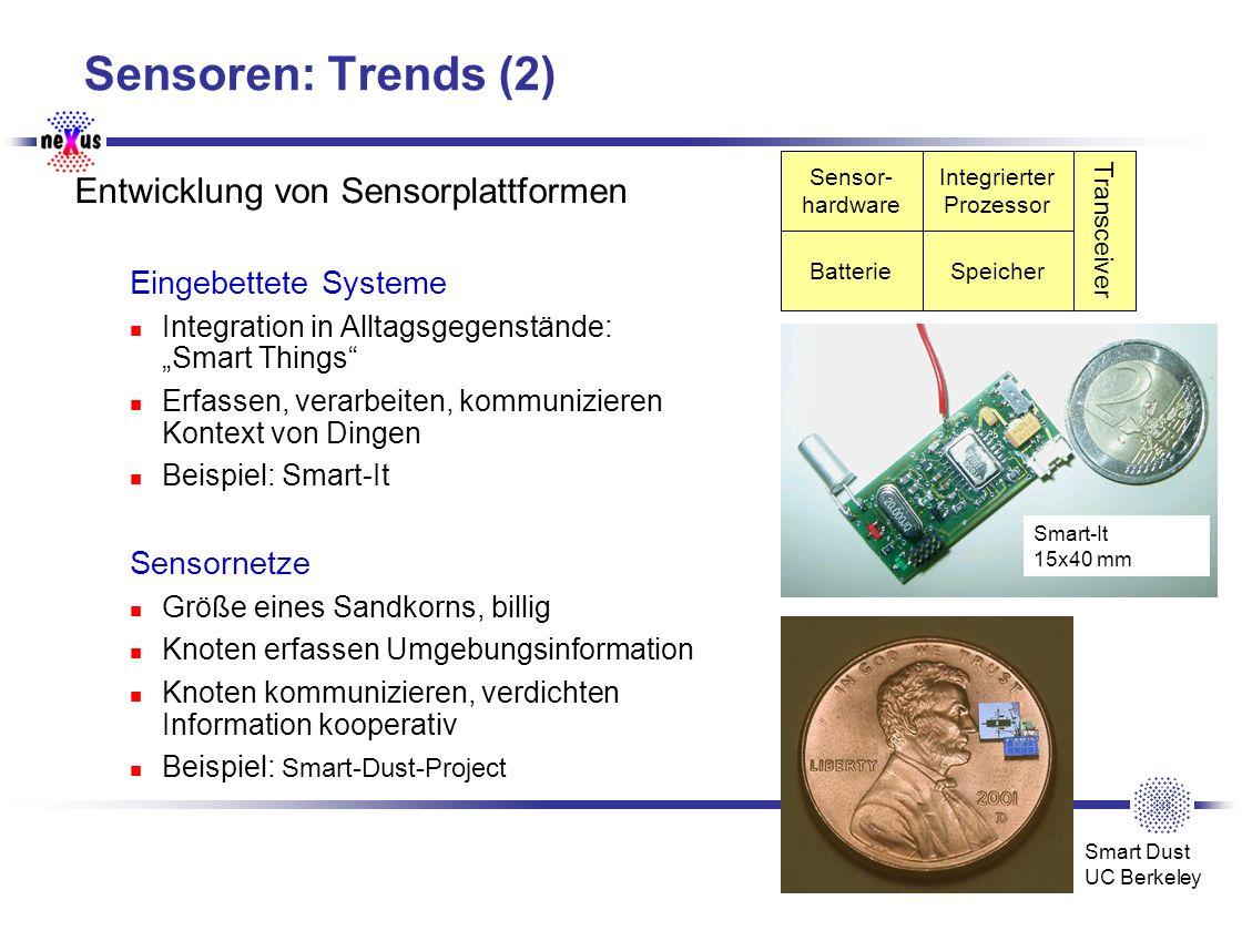 Universität Stuttgart SFB 627 Sensoren: Trends (2) Entwicklung von Sensorplattformen Eingebettete Systeme Integration in Alltagsgegenstände: Smart Thi