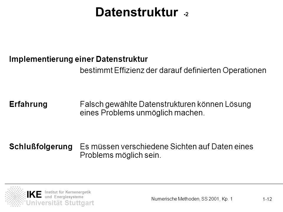 Universität Stuttgart IKE Institut für Kernenergetik und Energiesysteme Numerische Methoden, SS 2001, Kp. 1 1-12 Datenstruktur -2 Implementierung eine