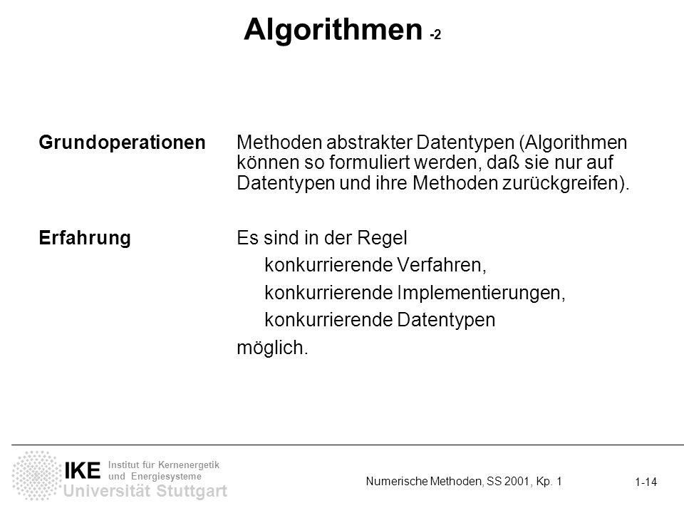 Universität Stuttgart IKE Institut für Kernenergetik und Energiesysteme Numerische Methoden, SS 2001, Kp. 1 1-14 Algorithmen -2 GrundoperationenMethod