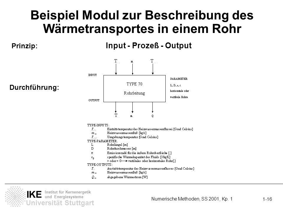 Universität Stuttgart IKE Institut für Kernenergetik und Energiesysteme Numerische Methoden, SS 2001, Kp. 1 1-16 Beispiel Modul zur Beschreibung des W