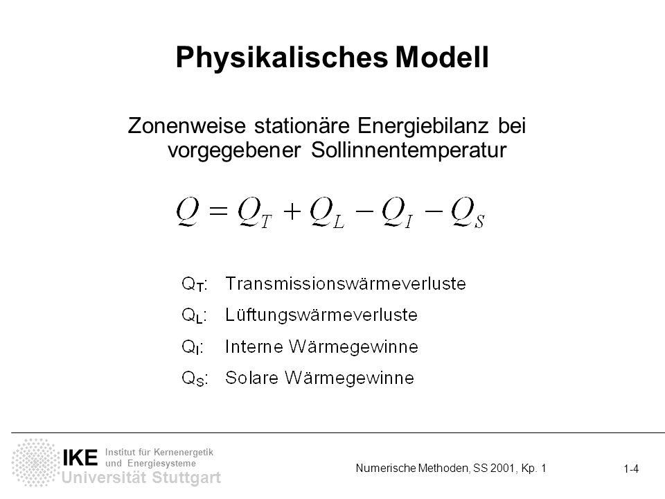 Universität Stuttgart IKE Institut für Kernenergetik und Energiesysteme Numerische Methoden, SS 2001, Kp. 1 1-4 Physikalisches Modell Zonenweise stati
