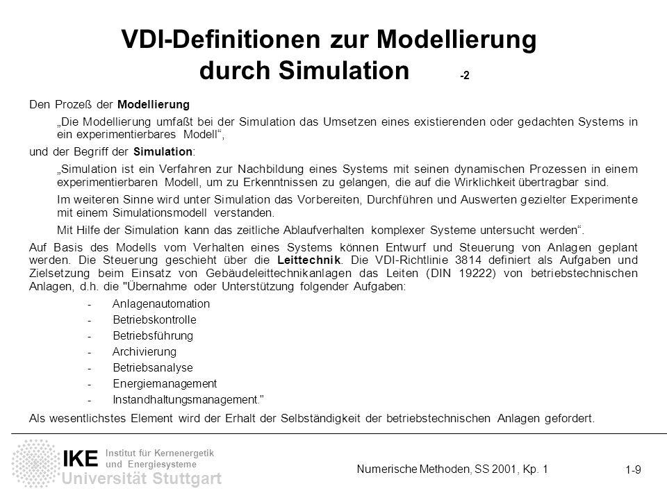Universität Stuttgart IKE Institut für Kernenergetik und Energiesysteme 1- 10 Numerische Methoden, SS 2001, Kp.