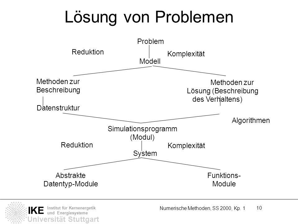 Universität Stuttgart IKE Institut für Kernenergetik und Energiesysteme Numerische Methoden, SS 2000, Kp. 1 10 Lösung von Problemen Methoden zur Besch