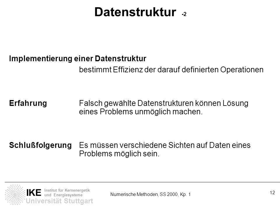 Universität Stuttgart IKE Institut für Kernenergetik und Energiesysteme Numerische Methoden, SS 2000, Kp. 1 12 Datenstruktur -2 Implementierung einer