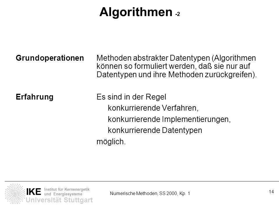 Universität Stuttgart IKE Institut für Kernenergetik und Energiesysteme Numerische Methoden, SS 2000, Kp. 1 14 Algorithmen -2 GrundoperationenMethoden
