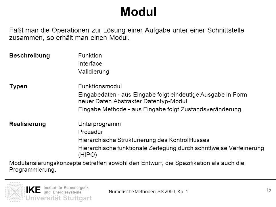 Universität Stuttgart IKE Institut für Kernenergetik und Energiesysteme Numerische Methoden, SS 2000, Kp. 1 15 Modul Faßt man die Operationen zur Lösu