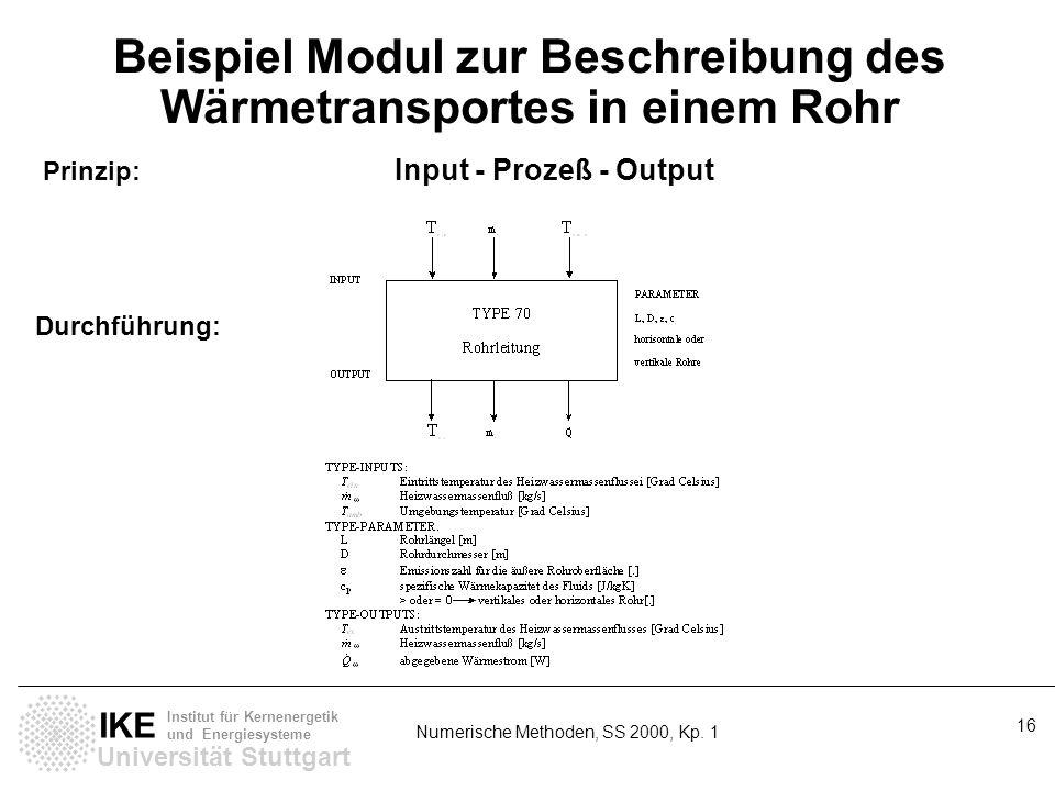 Universität Stuttgart IKE Institut für Kernenergetik und Energiesysteme Numerische Methoden, SS 2000, Kp. 1 16 Beispiel Modul zur Beschreibung des Wär