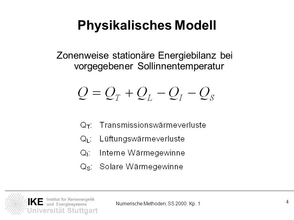 Universität Stuttgart IKE Institut für Kernenergetik und Energiesysteme Numerische Methoden, SS 2000, Kp. 1 4 Physikalisches Modell Zonenweise station