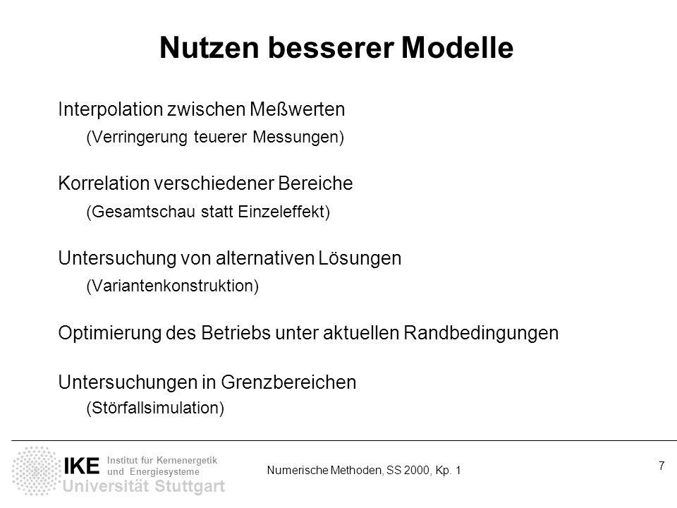 Universität Stuttgart IKE Institut für Kernenergetik und Energiesysteme Numerische Methoden, SS 2000, Kp. 1 7 Nutzen besserer Modelle Interpolation zw