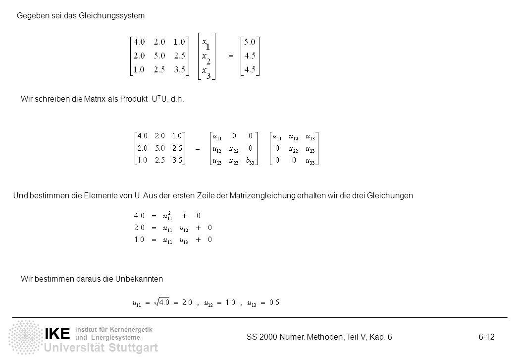 Universität Stuttgart IKE Institut für Kernenergetik und Energiesysteme SS 2000 Numer. Methoden, Teil V, Kap. 6 6-12 Gegeben sei das Gleichungssystem