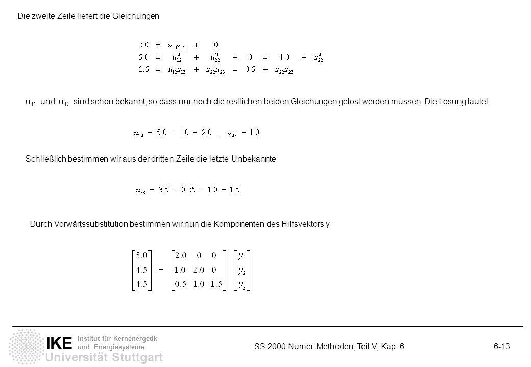 Universität Stuttgart IKE Institut für Kernenergetik und Energiesysteme SS 2000 Numer. Methoden, Teil V, Kap. 6 6-13 Die zweite Zeile liefert die Glei