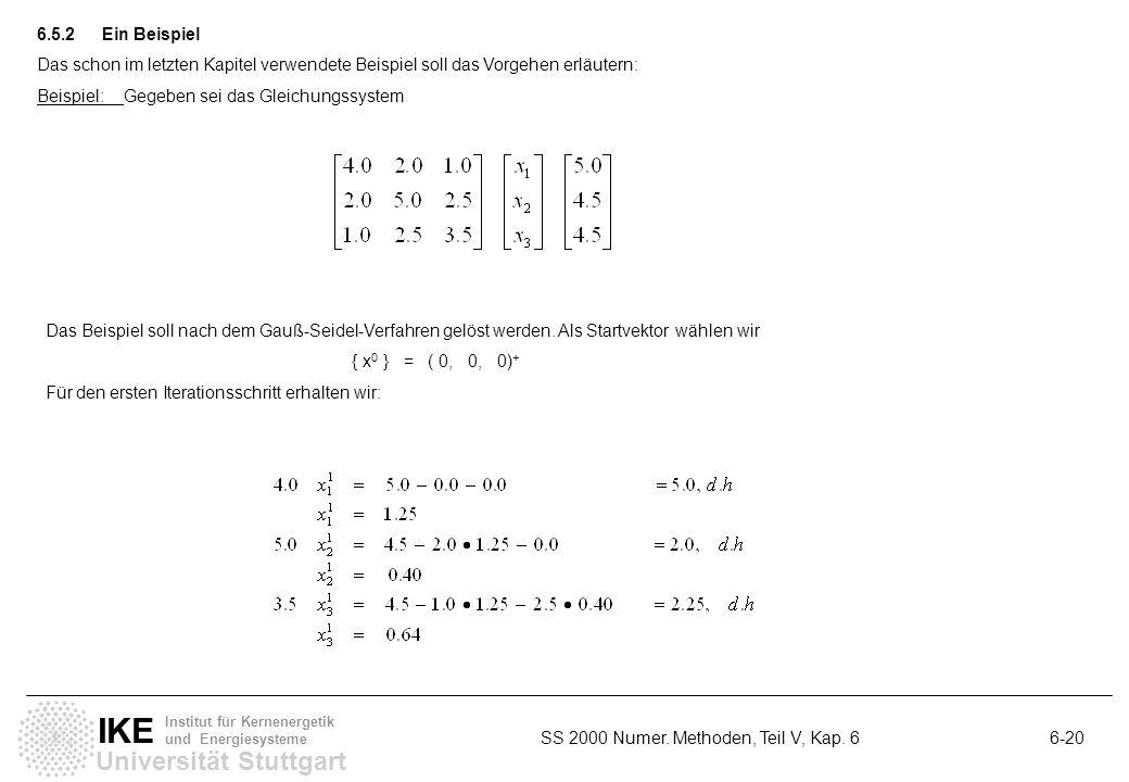 Universität Stuttgart IKE Institut für Kernenergetik und Energiesysteme SS 2000 Numer. Methoden, Teil V, Kap. 6 6-20 6.5.2Ein Beispiel Das schon im le