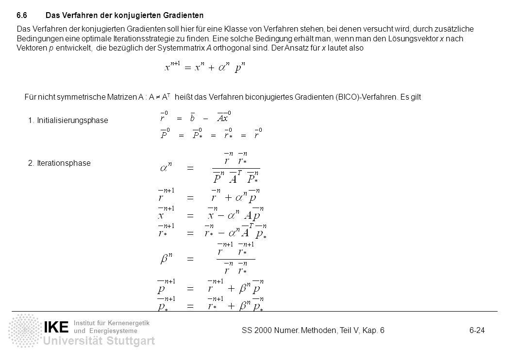 Universität Stuttgart IKE Institut für Kernenergetik und Energiesysteme SS 2000 Numer. Methoden, Teil V, Kap. 6 6-24 6.6Das Verfahren der konjugierten