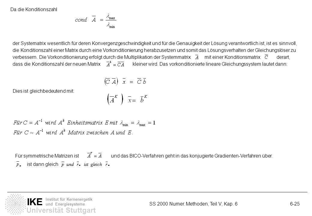Universität Stuttgart IKE Institut für Kernenergetik und Energiesysteme SS 2000 Numer. Methoden, Teil V, Kap. 6 6-25 Da die Konditionszahl der Systema