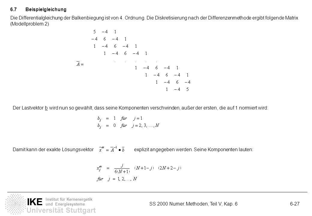 Universität Stuttgart IKE Institut für Kernenergetik und Energiesysteme SS 2000 Numer. Methoden, Teil V, Kap. 6 6-27 6.7Beispielgleichung Die Differen