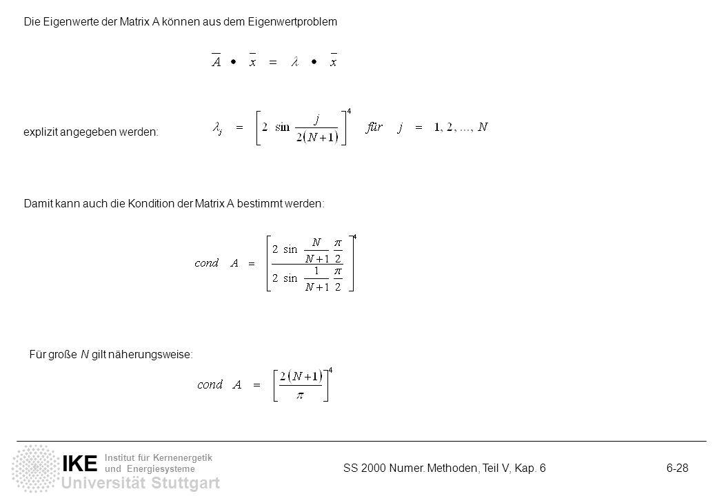 Universität Stuttgart IKE Institut für Kernenergetik und Energiesysteme SS 2000 Numer. Methoden, Teil V, Kap. 6 6-28 Die Eigenwerte der Matrix A könne