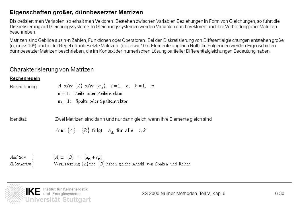 Universität Stuttgart IKE Institut für Kernenergetik und Energiesysteme SS 2000 Numer. Methoden, Teil V, Kap. 6 6-30 Eigenschaften großer, dünnbesetzt