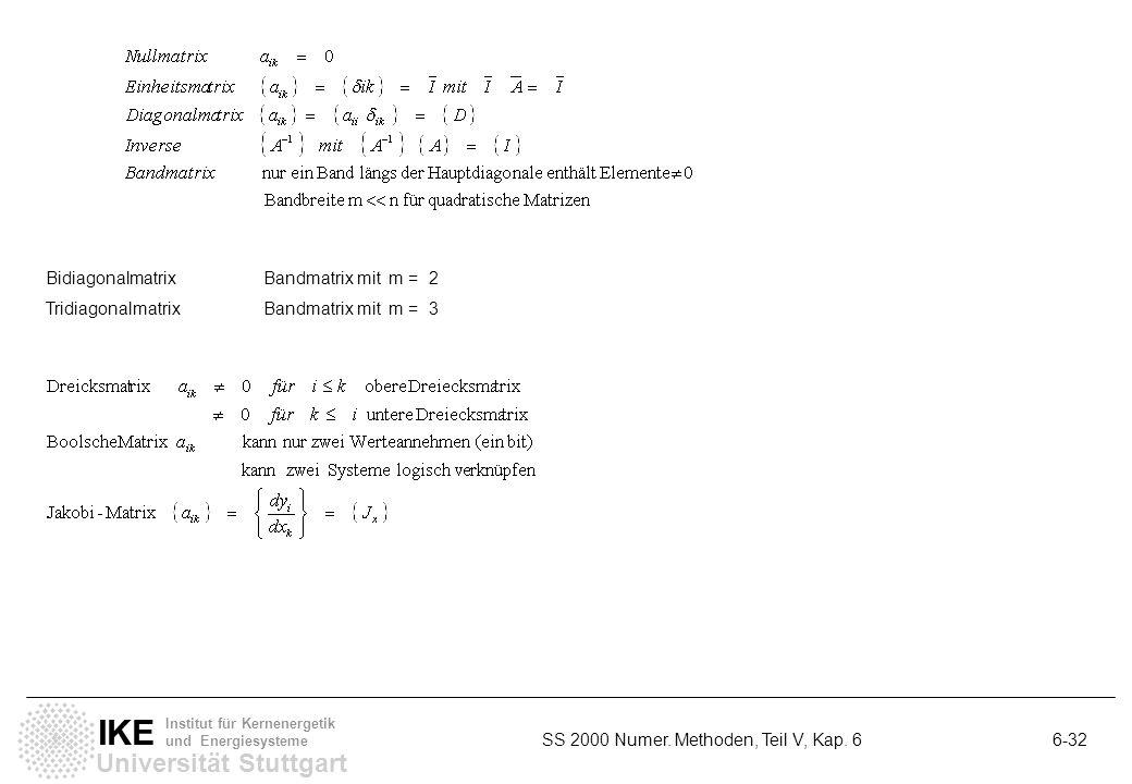 Universität Stuttgart IKE Institut für Kernenergetik und Energiesysteme SS 2000 Numer. Methoden, Teil V, Kap. 6 6-32 BidiagonalmatrixBandmatrix mit m